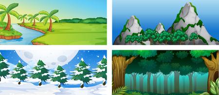 Set van natuur landschap illustratie Vector Illustratie