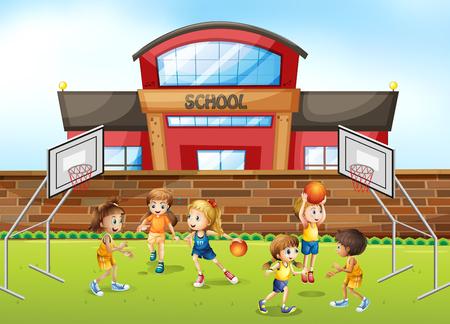 Basketball player at school field illustration