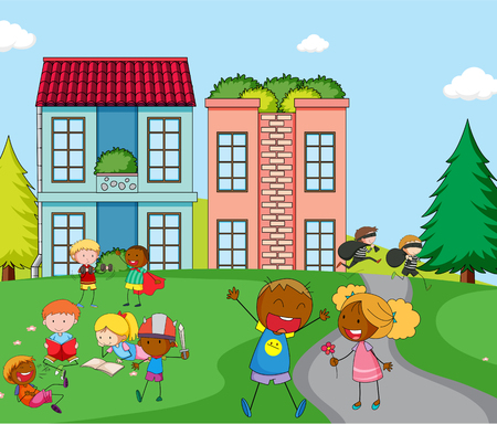 Children playing infront of house illustration
