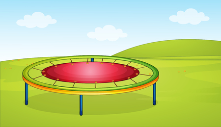 A trampoline in the playground illustration