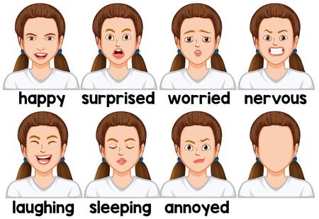Set of girl facial expression illustration