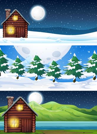Set of house in nature landscape illustration Illustration