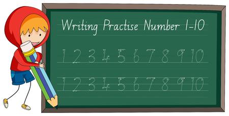 Write practise number to ten illustration Illustration