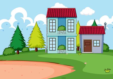 Construcción de viviendas en la ilustración de la naturaleza