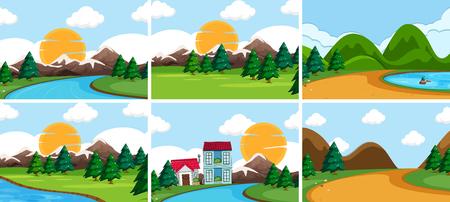 Set of nature landscape illustration  イラスト・ベクター素材