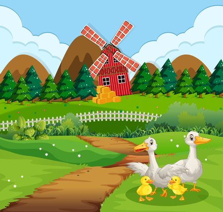 Duck family at farmland illustration