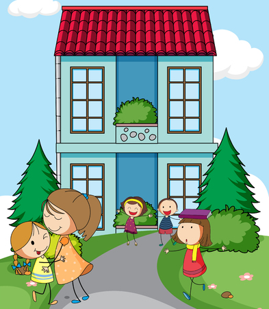 Children infront of simple house illustration