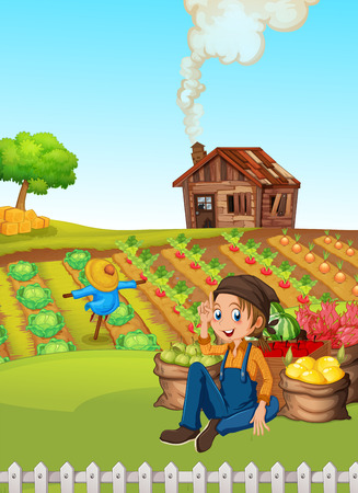 A farmer harvest vegetable illustration Иллюстрация