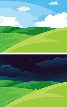 Day and night nature scene illustration Ilustrace