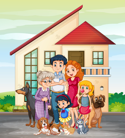 Family member in front of house illustration