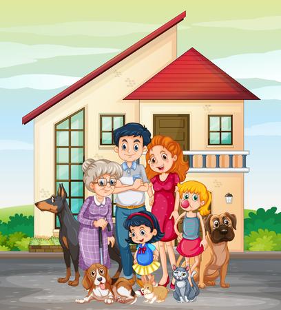 Membre de la famille devant l'illustration de la maison