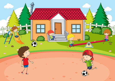 Children playing at house illustration