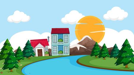 Rural village in nature illustration  イラスト・ベクター素材