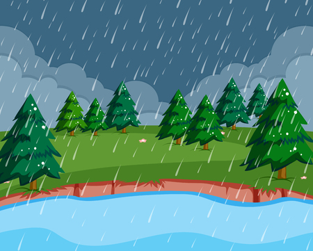 A raining scene in nature illustration