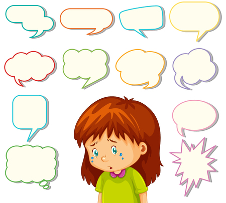 Girl with different speech balloon illustration