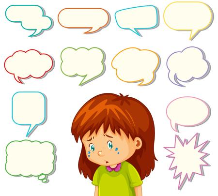 Girl with different speech balloon illustration