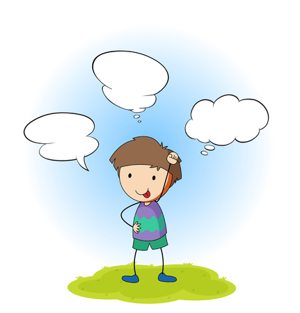 A boy with speech balloon illustration