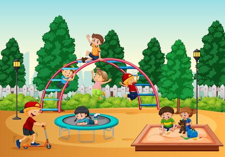 Children playing at playground illustration Illustration
