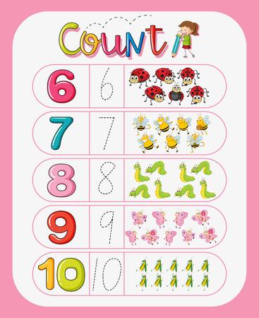 Math counting number worksheet illustration Illustration