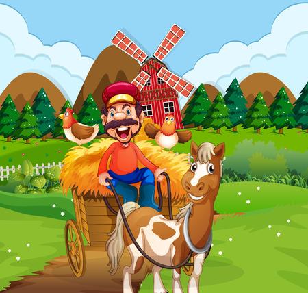 Happy farmer riding cart illustration