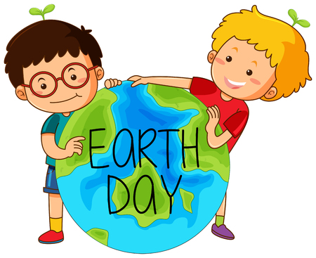 Boys with earth day illustration