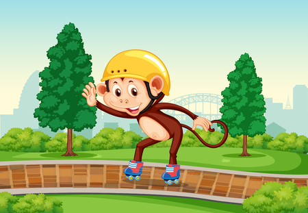 Monkey playing roller skate in the park illustration Ilustrace