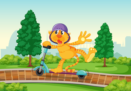 A tiger playing kick scooter in the park illustration