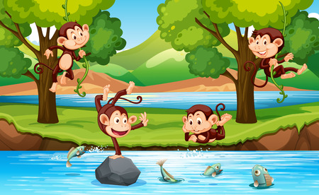 Monkey in the forest illustration