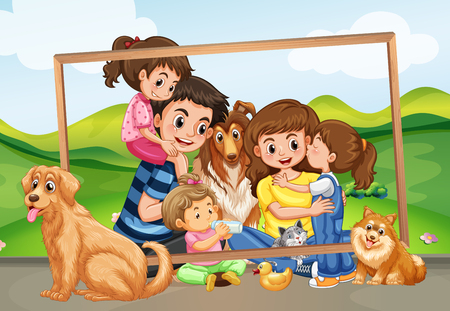 Happy family picture in the nature illustration Ilustração