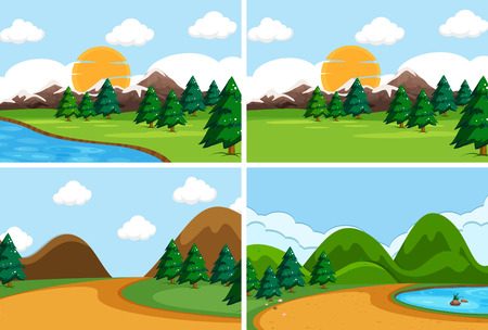 Set of flat nature scene illustration
