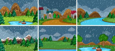 Set of nature landscape illustration Illustration