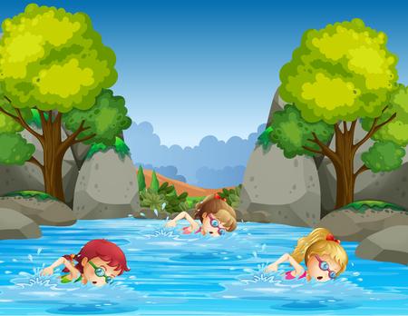 Bambini che nuotano nell'illustrazione della natura