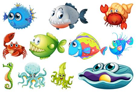 Set of sea creature illustration Ilustración de vector