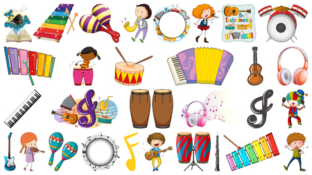 Set of musical objects illustration