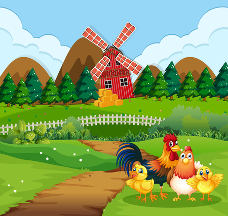Chicken family at farmland illustration Ilustração