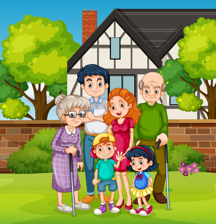 Family in front of the house yard illustration