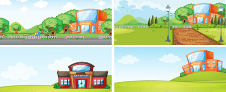 Set of school building backgrounf illustration