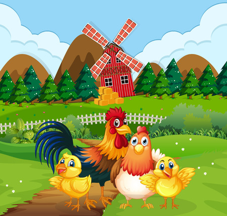 Chicken family at farmland illustration Stockfoto - 121395643
