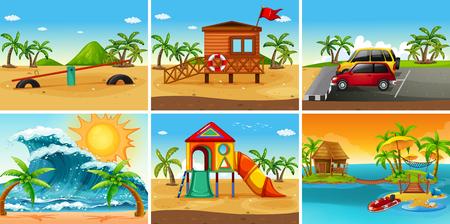 Set of beach scene illustration