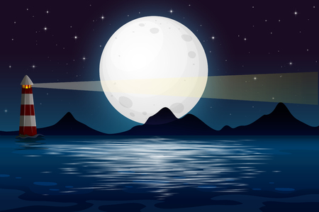 Una vista sull'oceano di notte illustrazione