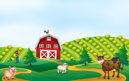 A nature farmland landscape illustration