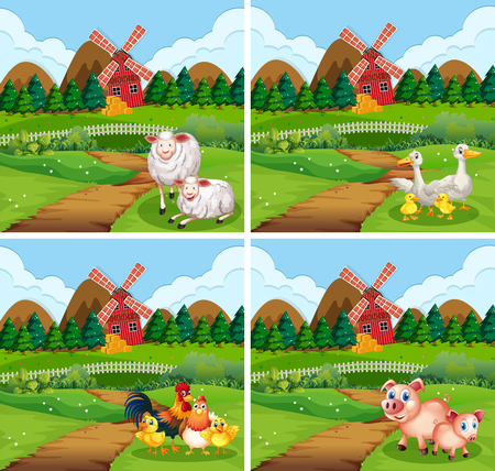 Set of farm animal in nature illustration