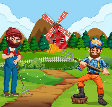 Farmer working in the farm illustration