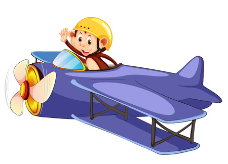 A monkey riding airplane illustration
