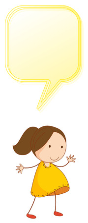 A girl with speech balloon illustration Ilustração
