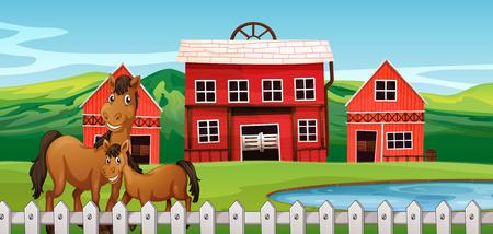 Horse at farmland scene illustration