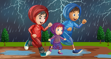 Family running in the rain illustration
