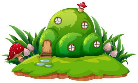 Green fantasy cartoon home illustration