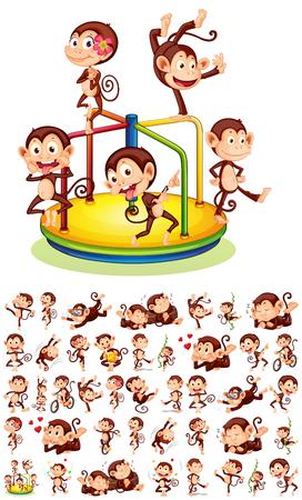 Set of different monkeys illustration