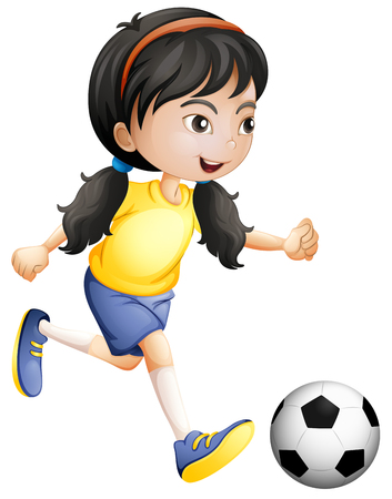 Młoda dziewczyna gra w piłkę nożną